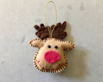 MOOSE TREE ORNAMENT - Folk Art, Felt, Hand Made Holiday Decor, Christmas Tree, Decoration, Soft Ornament, Stitched, Wildlife, Deer, Reindeer