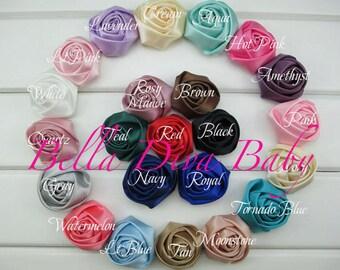 """Rosette Satin Rolled -1.45""""  you choose colors, Vintage Satin Rose rolled to make vintage headbands photo prop DIY"""