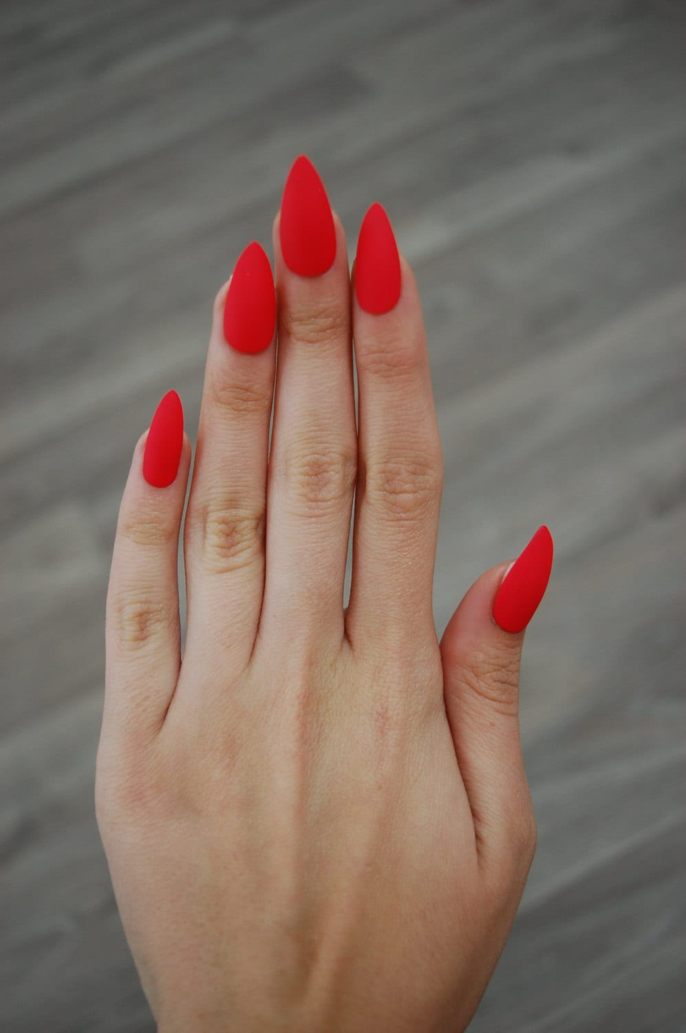 Bright Red-Orange Coral Full Cover Stiletto Nails Set of 20