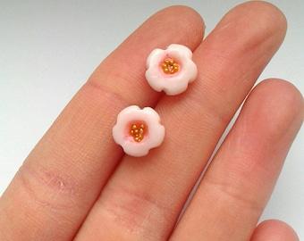 Polymer clay Sakura stud earrings