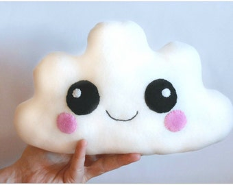 White Cloud Cushion, Kawaii plushie, Toddler Gift, Nursery Decor, Baby Shower Gift, Cute Cloud Pillow