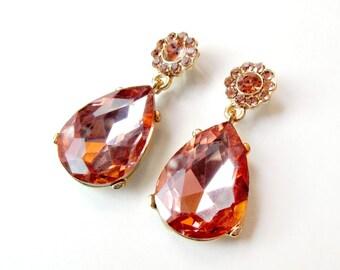 Earrings - Blush Pink and Gold Rhinestone Teardrop Earrings - Blush Pink Rhinestone Earrings - Teardrop Pear Dangle - Pink Peach Rhinestone