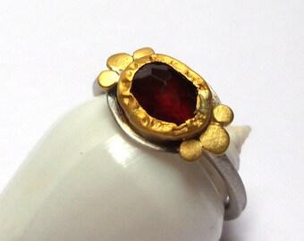 Garnet ring - silver ring - Gold ring - Statement gold ring - Engagement ring - 24 k gold ring - free shipping!!!