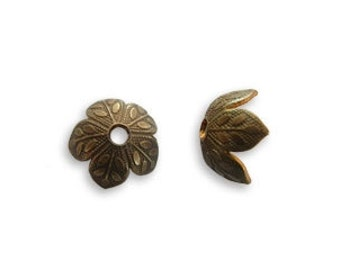 10 pieces 8mm Foliage Bead Cap by Vintaj Natural brass item BC160