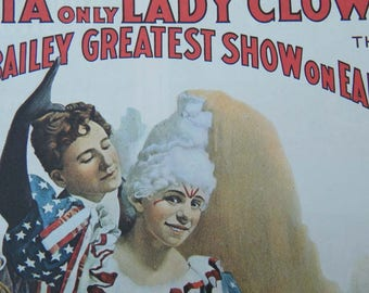 Evetta Lady Circus Clown Poster -  the Only Lady Clown with Barnum & Bailey Greatest Show on Earth Circus Poster Size Book Plate