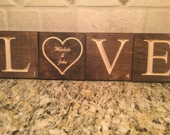 Valentine's Day LOVE - Scrabble Tile Wall Decor - Wall Art - Personalized