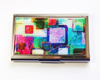 Business Card Case, Card case, business card holder, Stainless steel case, Abstract Design, Bright Colors (2977)