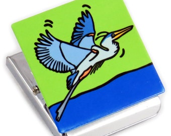 Great Blue Heron Metal Clip Magnet