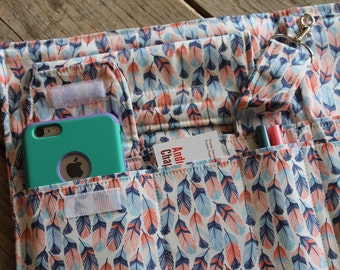 Full Size 7 Pocket Fabric Portfolio 8.5 x 11 Note Pad iPad iPhone Organizer Feathers