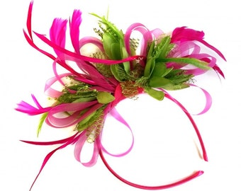 Fuchsia Pink & Lime Green Feathers Fascinator on Headband