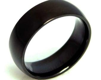 Mens Plain Black Plate Ring