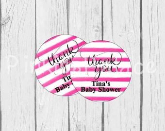 Thank You Stickers Pink Stripes Personalized Baby Shower Stickers - Set of 24