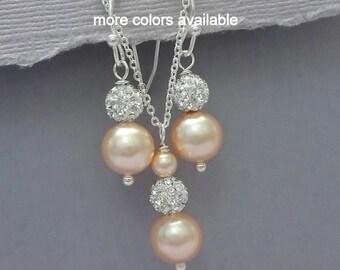 Peach Pearl Bridesmaid Jewelry Set, Pearl Wedding Jewelry Set, Bridesmaid Gift, Maid of Honor Gift, Peach Bridal Party Jewelry Set