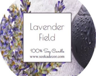 Lavender Fields, Scented 100% Soy Candle, Choose Your Size, Hand Poured Soy White Wax made By Seeka Decor