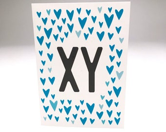 xy // sweet baby card // cute baby shower card // baby boy // blue // hearts // expecting // pregnancy card // new baby // boy