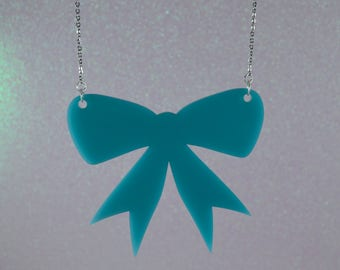 Teal Bow Necklace