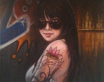 Tamara-Acrylic painting,Free shipping !!!