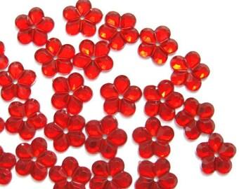 100 pcs Red Floral Sew on Flatback Rhinestones - 1 hole