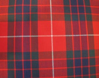 1970's Red Plaid Fabric Piece, Decorator Weight, Cotton, Plaid, Red, Green, Blue, White, Traditional, Scottish, 1970's, 1960's, Masculine