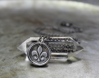 Fleur de lis Necklace - Vintage Wax Seal Charm Necklace - Fine Silver - Sterling Silver Oxidized Sterling Silver Necklace Jewelry