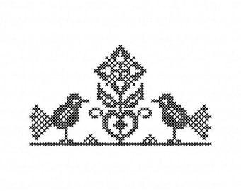 Kreuzstich Blume mit Voegeln Stickdatei Direkter Download