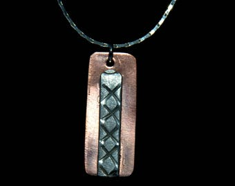 Copper and Silver Mixed Metal Pendant