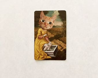 Collage on vintage playing card: tiger cat