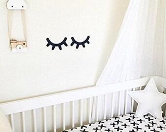 Sleepy Eyes Vinyl Wall Decal Sticker Closed Eyes Kids Decor Eyelashes Baby Nursery Kids Room