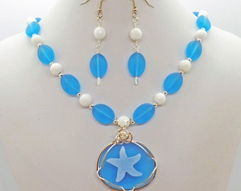 Starfish Sea Glass Jade Necklace Earrings Set