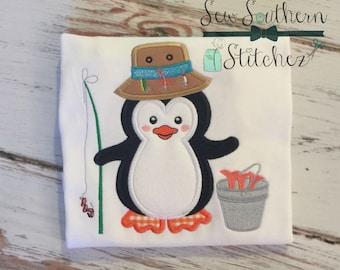 Fishing Penguin Applique Design ~ Instant Download