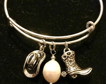 Country cowboy hat, cowboy boots and pearl like bead stackable bangle bracelet