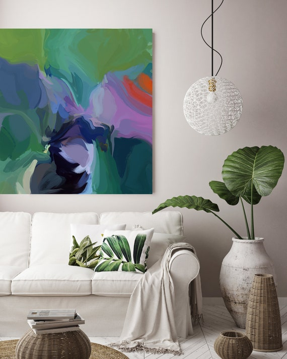 """Awoken, Art Abstract Print on Canvas up to 50"""", Green Purple Abstract Canvas Art Print, Sunny City by Irena Orlov"""