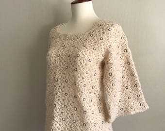 1960s handmade knit floral sweater / hippie / boho