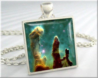 Pillars Of Creation Pendant, Space Nebula Pendant, Hubble Picture Necklace, Resin Jewelry, Square Silver, Space Gift 255SS