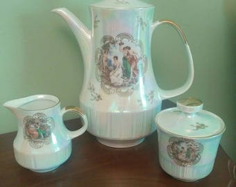 Vintage Lustreware/Iridescent Teapot Cream and Sugar
