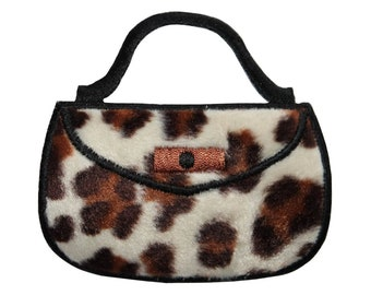 ID 8369 Fuzzy Leopard Print Purse Patch Bag Fashion Embroidered Iron On Applique