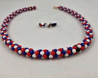 Red, White, and Blue Patriot Necklace & Clip-on Earring Set
