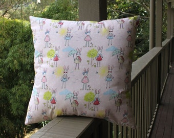 Cushion cover , pink bunny print  with zip fastening. Insert not included.