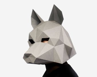 Wolf Mask, Halloween Mask, Wolf Costume, Dire Wolf, Instant Pdf download, DIY Halloween Paper Mask, 3D Pattern, Polygon Masks