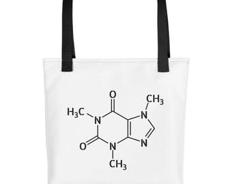 Funny Caffeine Tote bag. Coffee Lover Gift