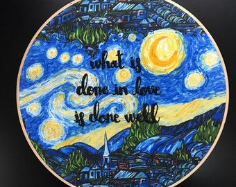 Van Gogh Quote Embroidery