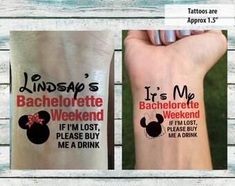 Bachelorette Party Temporary Tattoos Bachelorette Weekend - If I'm Lost, Please Buy Me A Drink - Disney Theme Tattoo - Bachelorette Favor