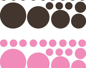 34 Polka dot wall decal, polka dot decals, polka dot decor, polka dot vinyl, polka dot nursery, polka dot art, D00157.