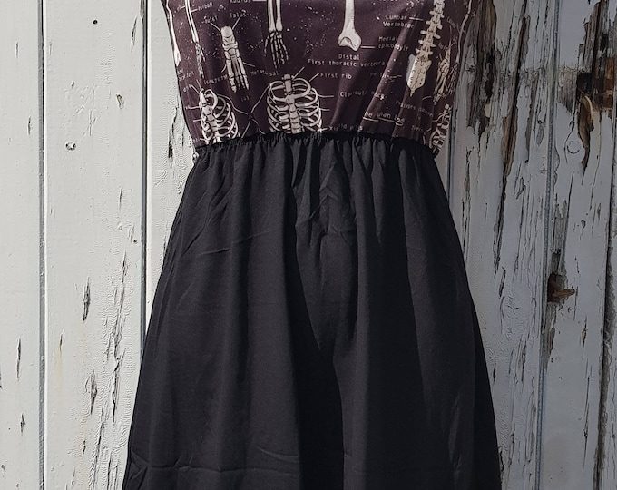 Black Anatomical Skeleton Black Dress - Size 10 12 14 - Tattoo Rockabilly Doctor