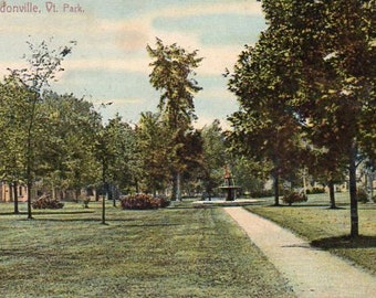 VINTAGE  POSTCARD, Park, Lyndonville, Vermont, collected by junqueTrunque