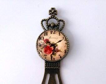 Antique Vintage Floral Clock Bookmark