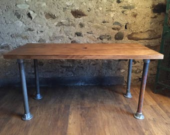 Industrial solid wood and metal office desk dining table scaffold style