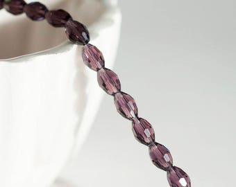 Purple glass, glass beads, oval shaped bead, creative supply, grain of rice, set of 50 beads
