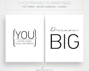 Printable planner pages, Suitable for Mambi Planner,  Scandinavian design, Printable organizer, Motivational quotes, Daily motivation