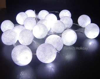 Cotton Balls String Fairy Lights 20 LED 16 feet Purple White for Wedding Party